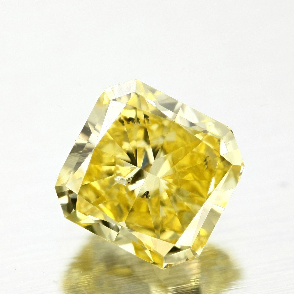 1.03 Carat Radiant Loose Diamond, Fancy Vivid Yellow, SI2, Very Good, GIA Certified