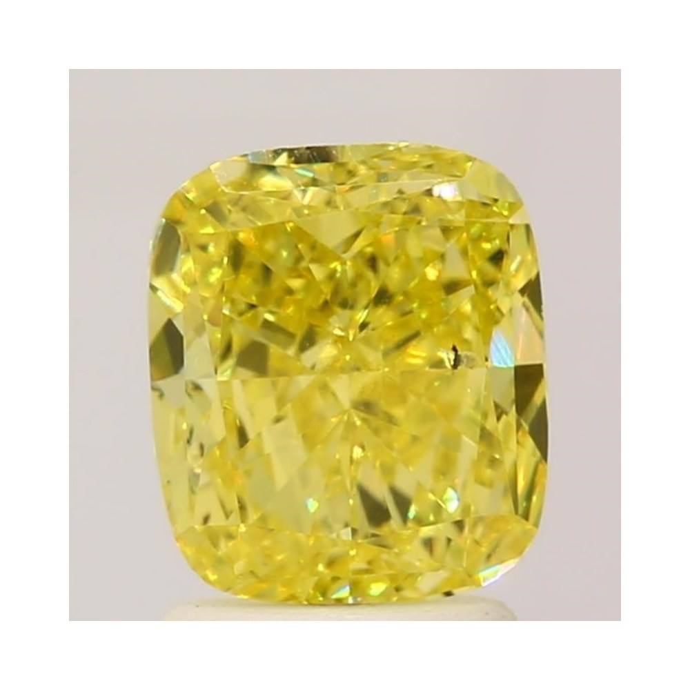 1.89 Carat Cushion Loose Diamond, Fancy Vivid Yellow, SI1, Excellent, GIA Certified | Thumbnail