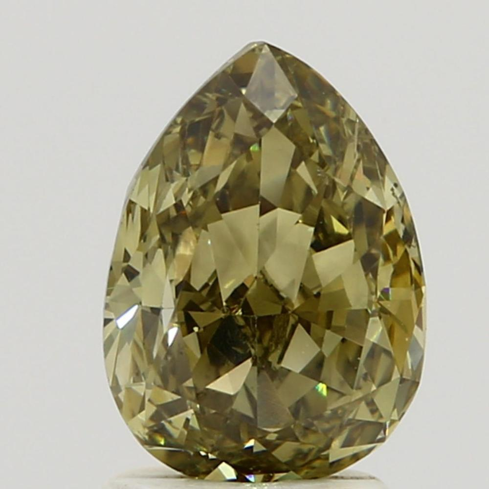 2.01 Carat Pear Loose Diamond, Fancy Dark Brown Greenish Yellow, SI1, Excellent, GIA Certified