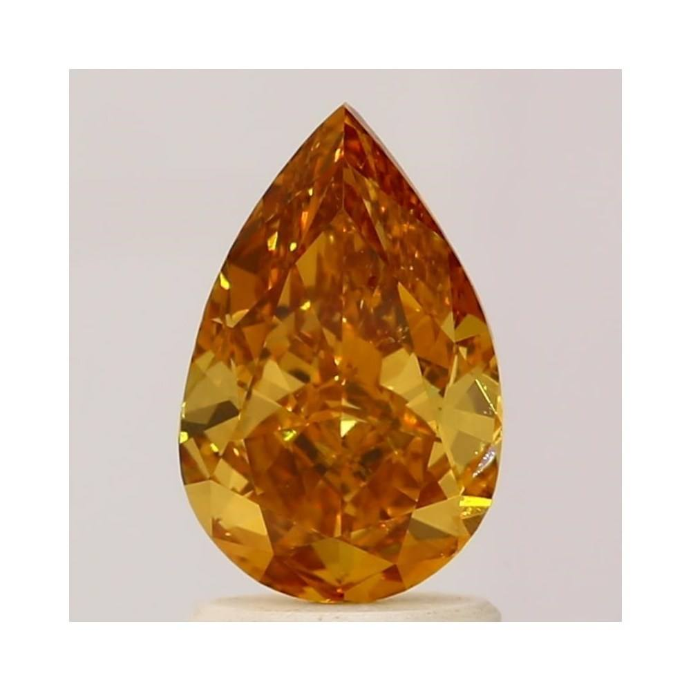 1.38 Carat Pear Loose Diamond, Fancy Deep Yellow Orange, SI1, Ideal, GIA Certified | Thumbnail