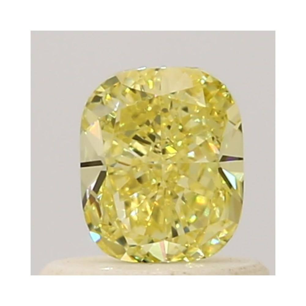 0.48 Carat Cushion Loose Diamond, Fancy Intense Yellow, VVS1, Excellent, GIA Certified