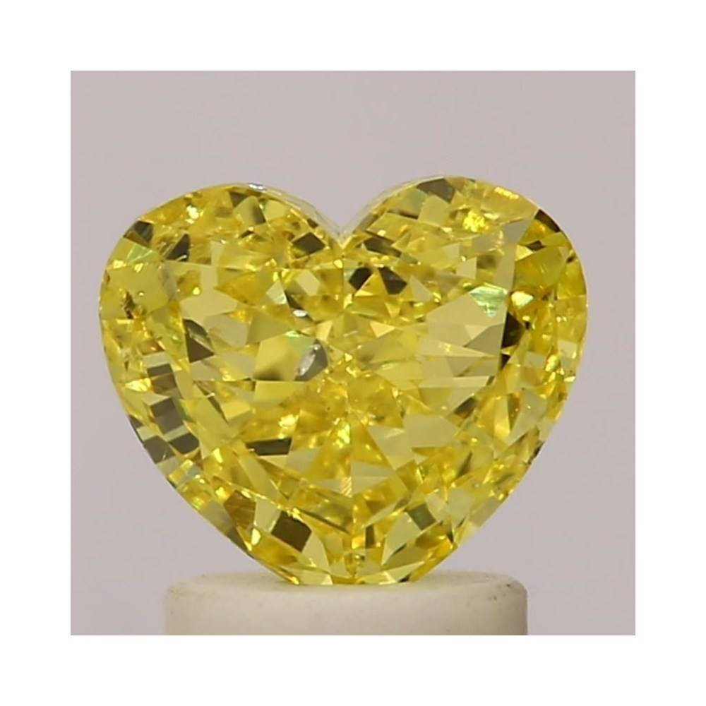 1.54 Carat Heart Loose Diamond, Fancy Vivid Yellow, SI2, Very Good, GIA Certified | Thumbnail