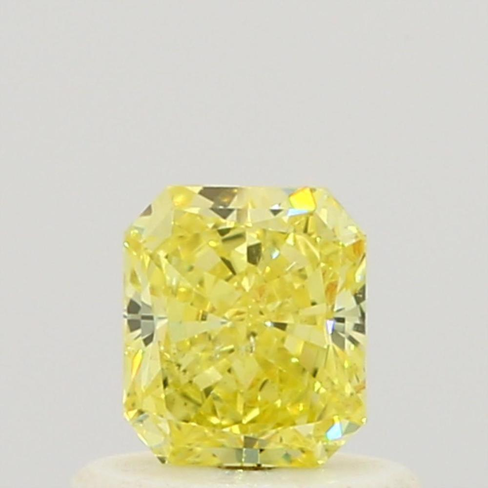 0.47 Carat Radiant Loose Diamond, Fancy Intense Yellow, SI2, Ideal, GIA Certified