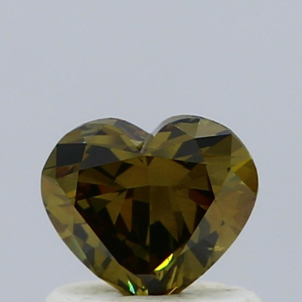 0.63 Carat Heart Loose Diamond, Fancy Deep Brown Greenish Yellow, SI1, Excellent, GIA Certified
