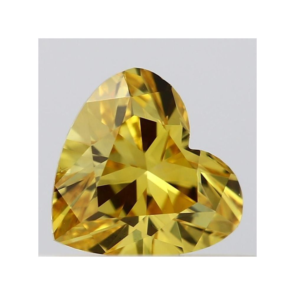 0.35 Carat Heart Loose Diamond, Fancy Vivid Orangy Yellow, VS2, Ideal, GIA Certified