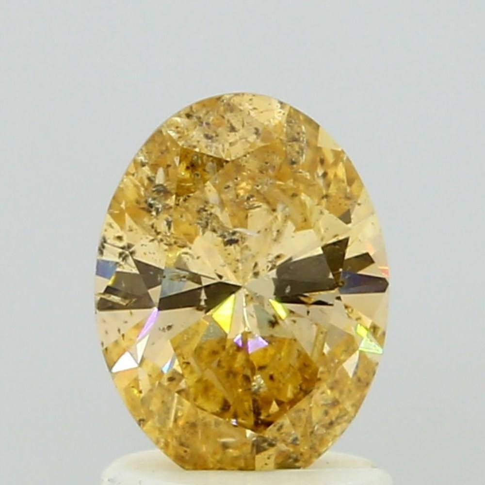 1.08 Carat Oval Loose Diamond, Fancy Intense Yellow Orange, I1, Excellent, GIA Certified