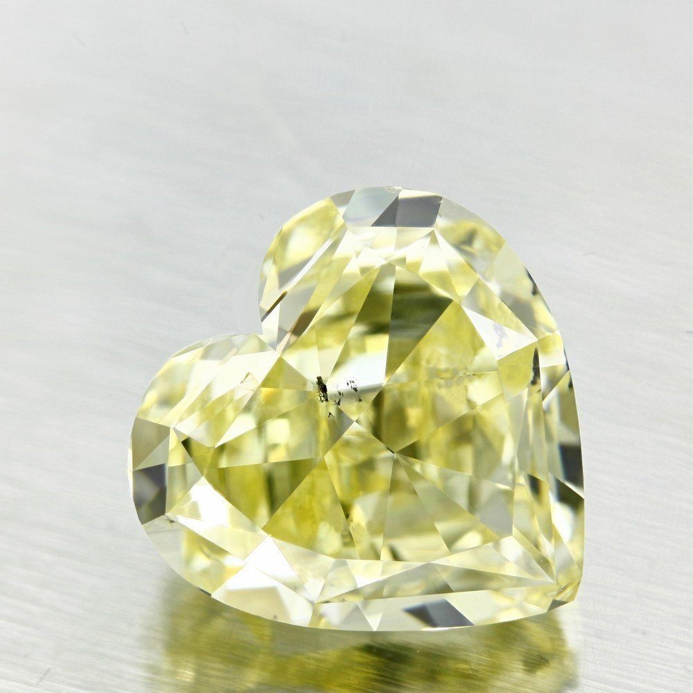 5.08 Carat Heart Loose Diamond, Fancy Light Yellow, SI2, Excellent, GIA Certified