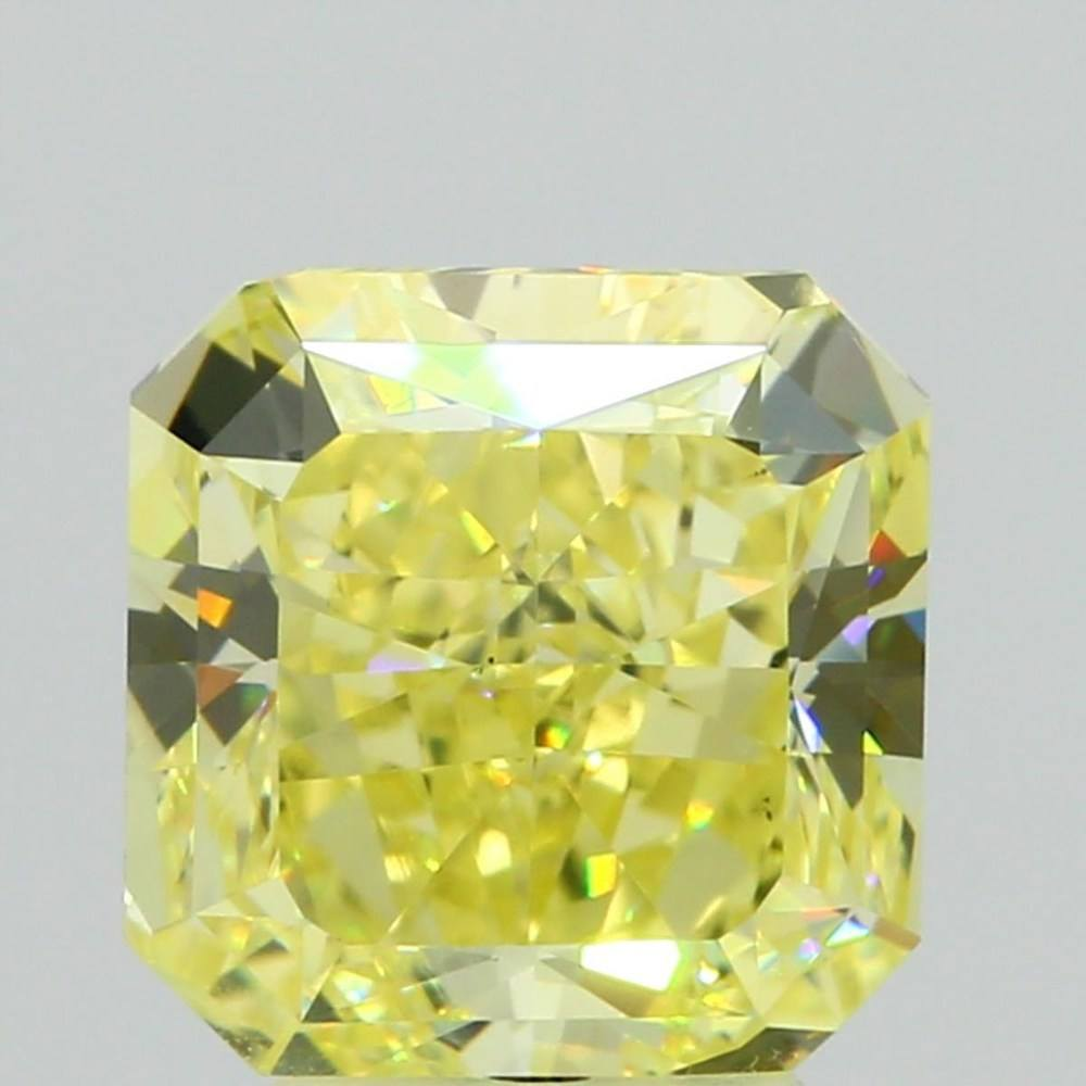 4.07 Carat Radiant Loose Diamond, Fancy Intense Yellow, VS2, Very Good, GIA Certified
