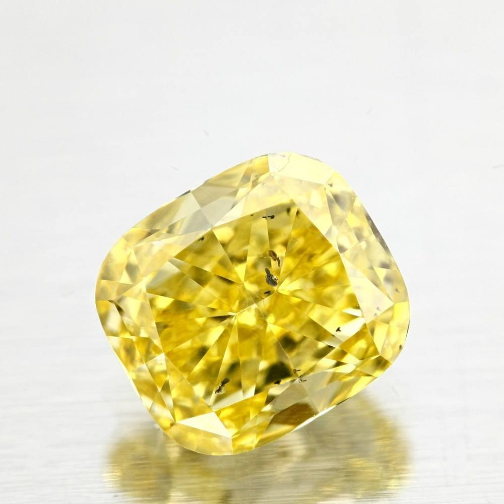 1.11 Carat Cushion Loose Diamond, Fancy Vivid Yellow, SI2, Excellent, GIA Certified