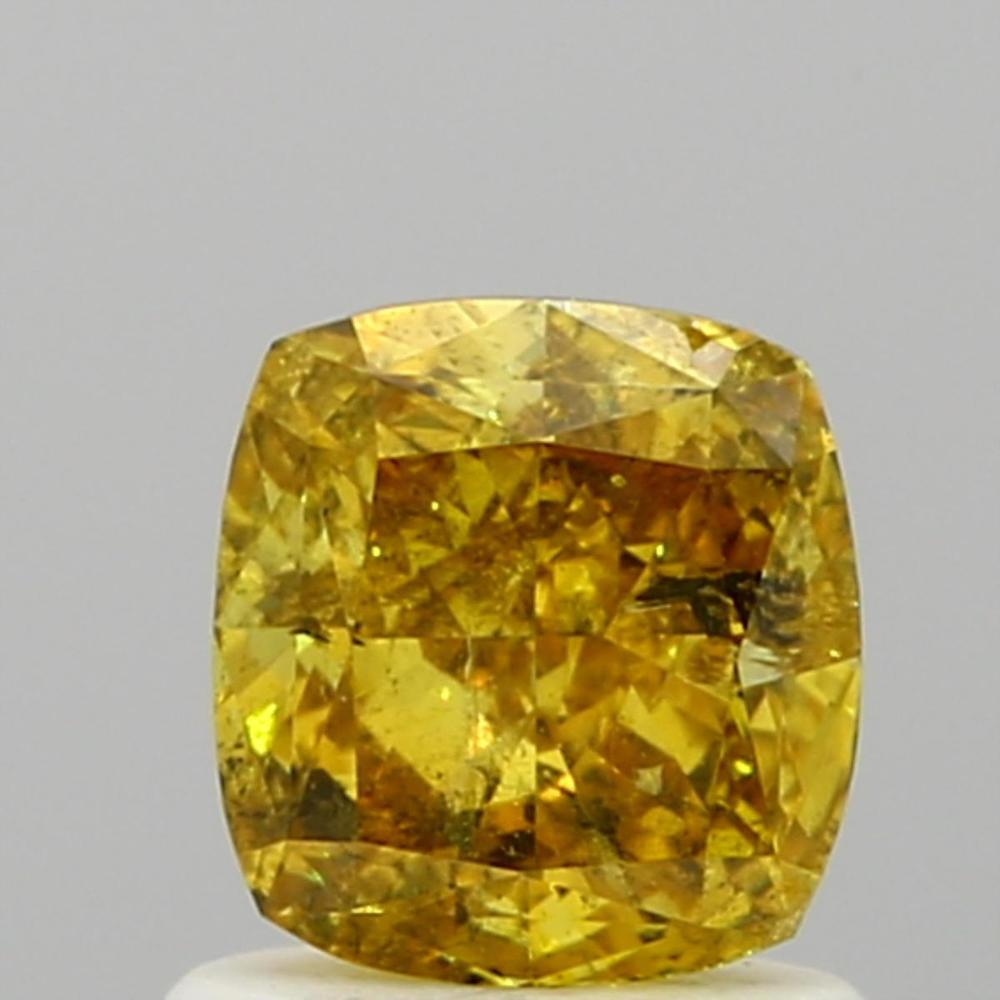 1.02 Carat Cushion Loose Diamond, Fancy Deep Yellow, I1, Excellent, GIA Certified