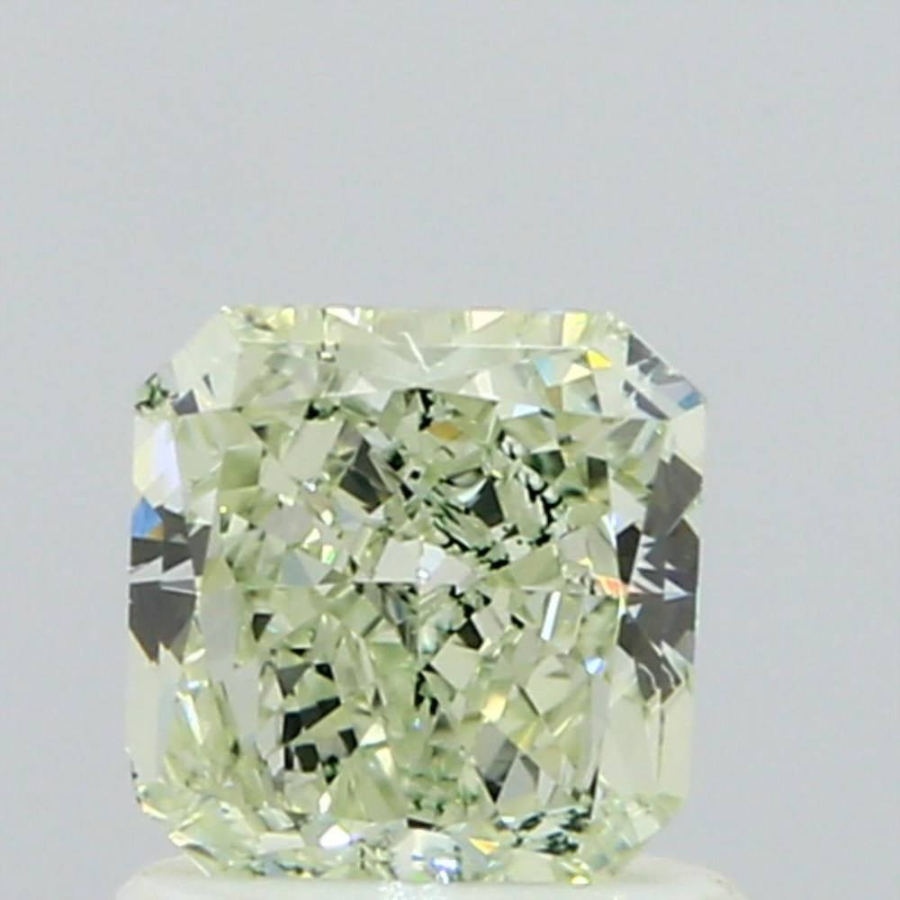 0.85 Carat Radiant Loose Diamond, Fancy Light Yellowish Green, SI1, Very Good, GIA Certified