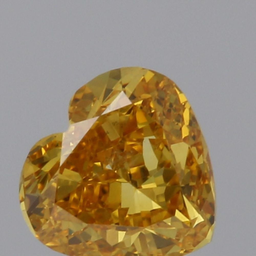 0.30 Carat Heart Loose Diamond, Fancy Vivid Orange-Yellow, SI2, Ideal, GIA Certified