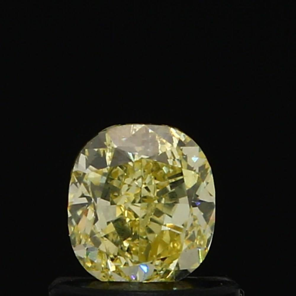 0.59 Carat Cushion Loose Diamond, Fancy Yellow, VS1, Excellent, GIA Certified