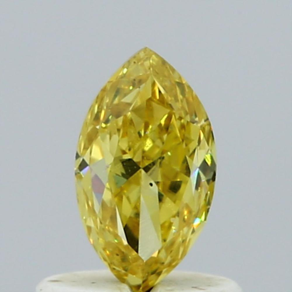 0.67 Carat Marquise Loose Diamond, Fancy Intense Yellow, VS2, Good, GIA Certified