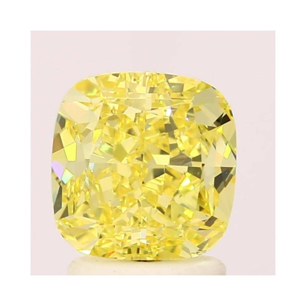 2.02 Carat Cushion Loose Diamond, Fancy Intense Yellow, VS1, Ideal, GIA Certified
