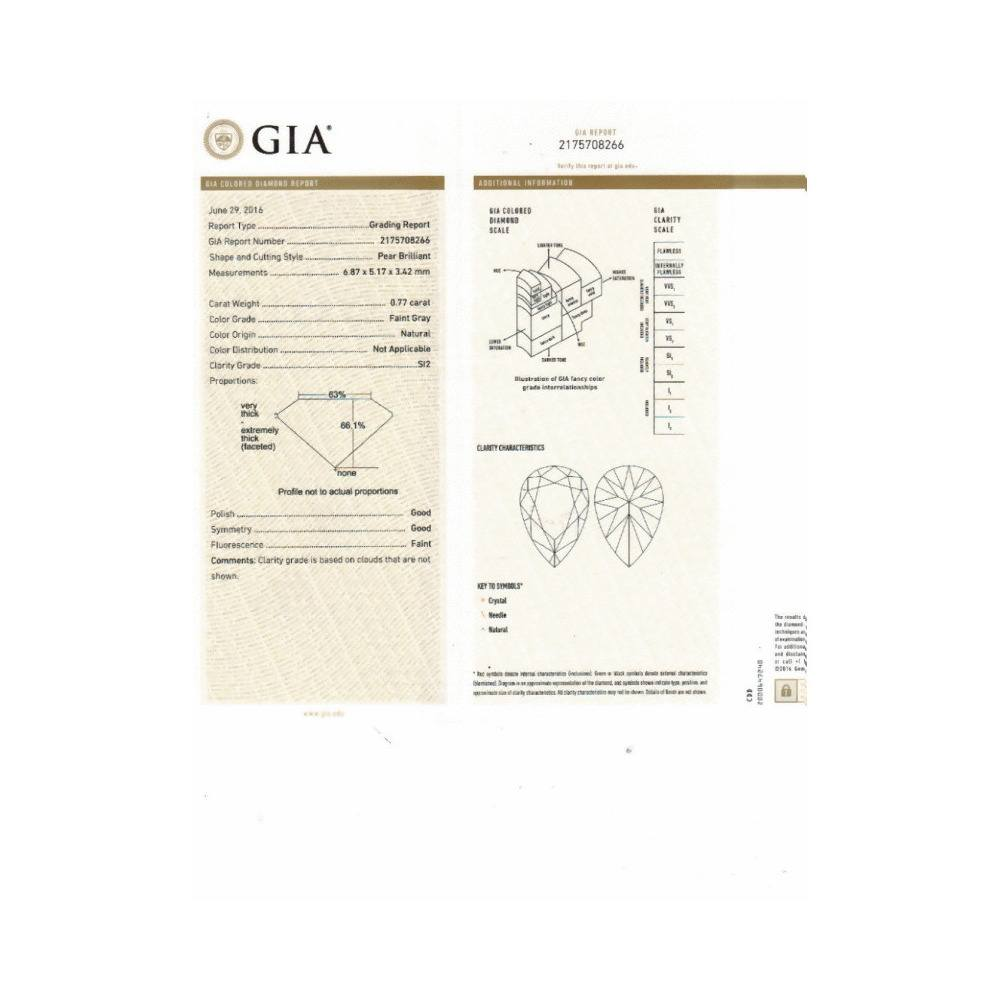 0.77 Carat Pear Loose Diamond, , SI2, Excellent, GIA Certified