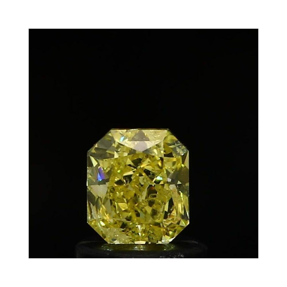 0.71 Carat Radiant Loose Diamond, Fancy Intense Yellow, SI2, Very Good, GIA Certified | Thumbnail