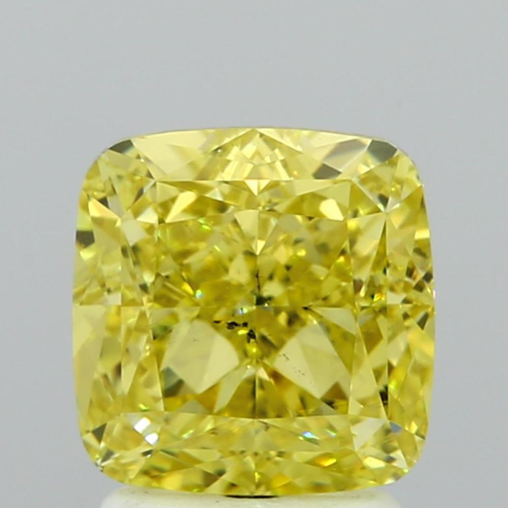 2.34 Carat Cushion Loose Diamond, Fancy Intense Yellow, SI1, Ideal, GIA Certified