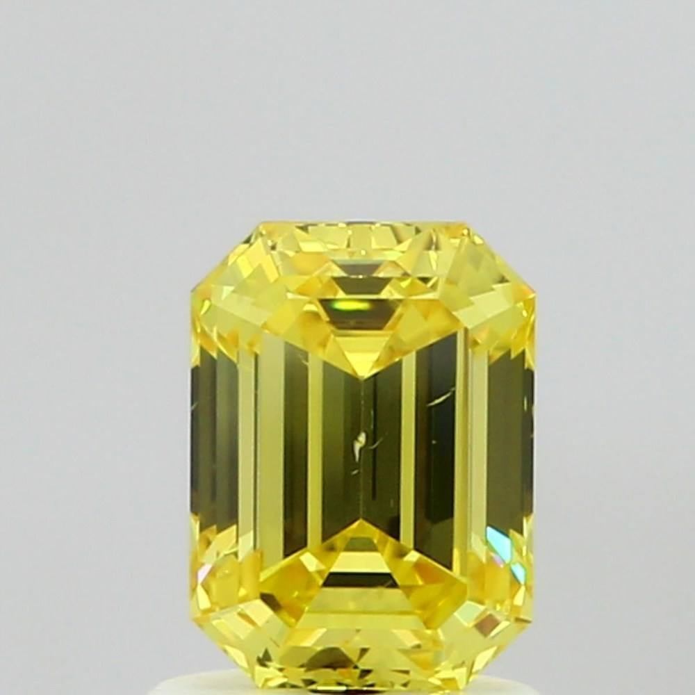 1.02 Carat Emerald Loose Diamond, Fancy Vivid Yellow, VS2, Ideal, GIA Certified