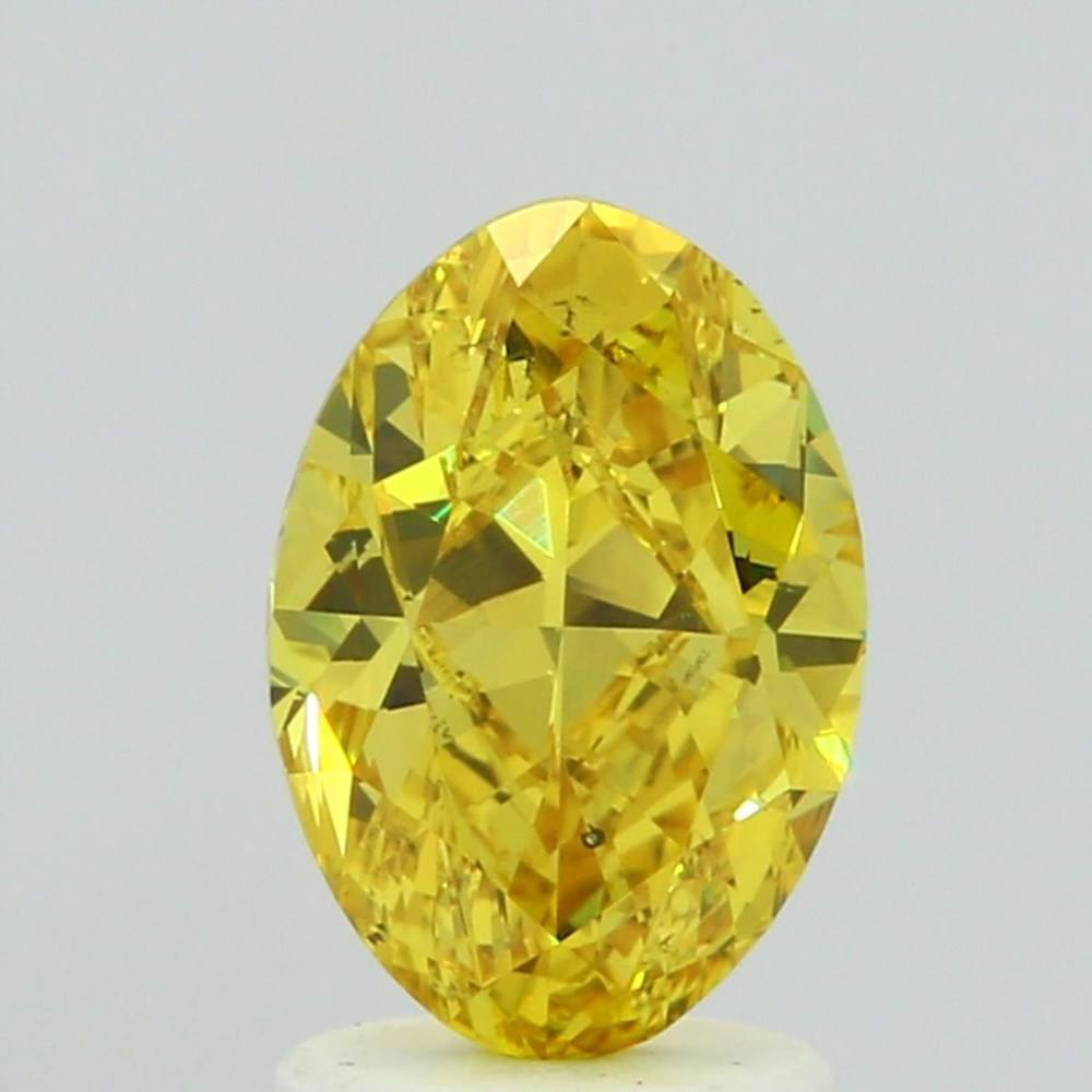 1.56 Carat Oval Loose Diamond, Fancy Vivid Yellow, SI1, Super Ideal, GIA Certified