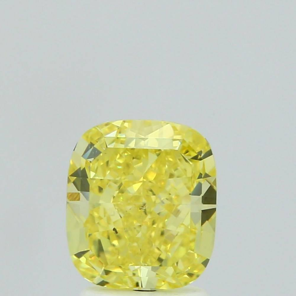 2.13 Carat Cushion Loose Diamond, Fancy Vivid Yellow, SI1, Excellent, GIA Certified