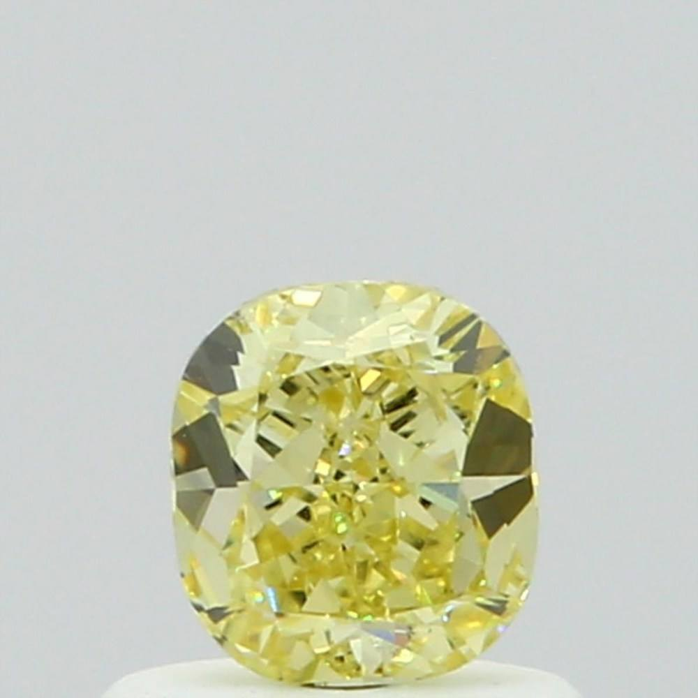 0.56 Carat Cushion Loose Diamond, Fancy Yellow, SI1, Ideal, GIA Certified