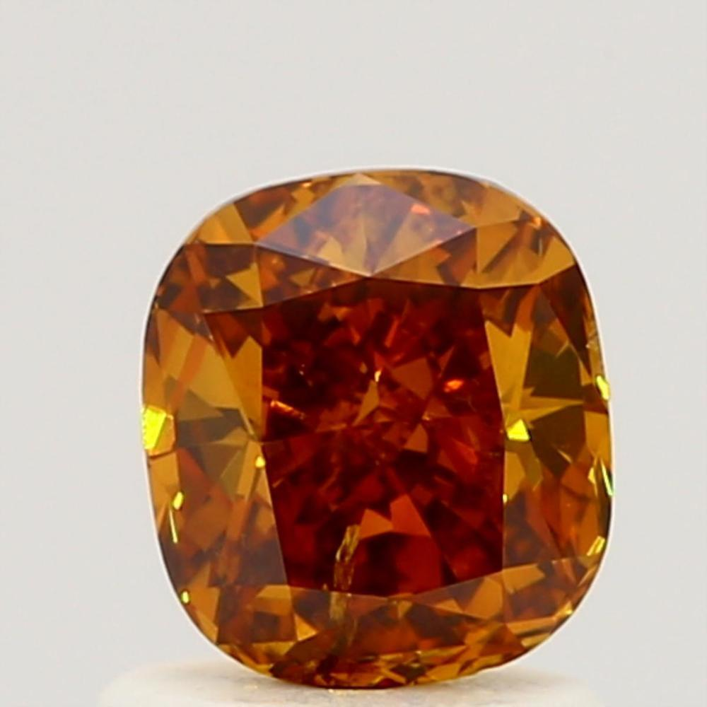 0.91 Carat Cushion Loose Diamond, Fancy Deep Brownish Yellowish Orange, I1, Excellent, GIA Certified