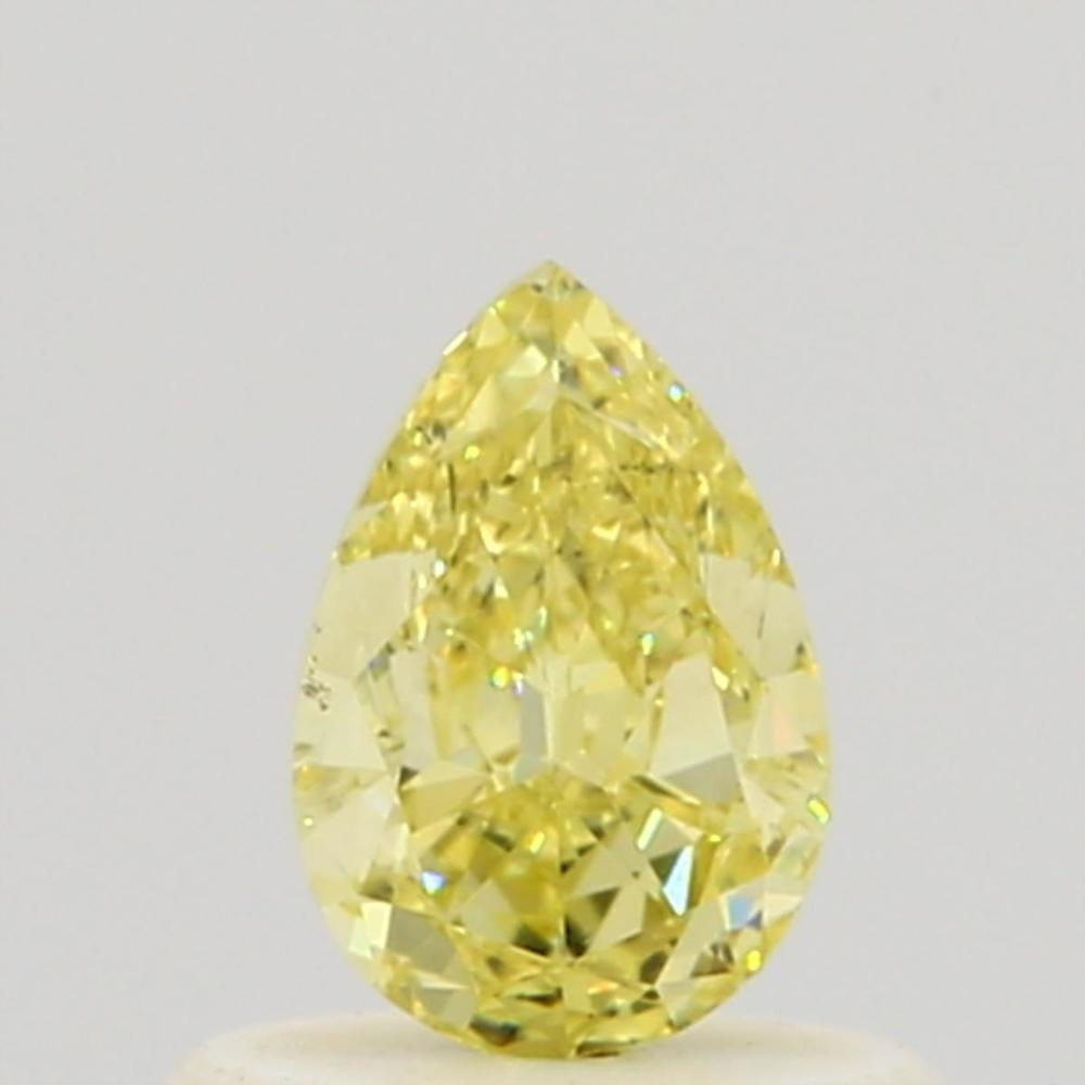 0.50 Carat Pear Loose Diamond, Fancy Intense Yellow, VS2, Excellent, GIA Certified