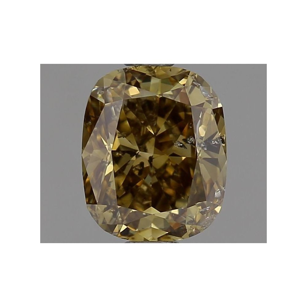 0.83 Carat Cushion Loose Diamond, Fancy Deep Brownish Greenish Yellow, I1, Excellent, GIA Certified