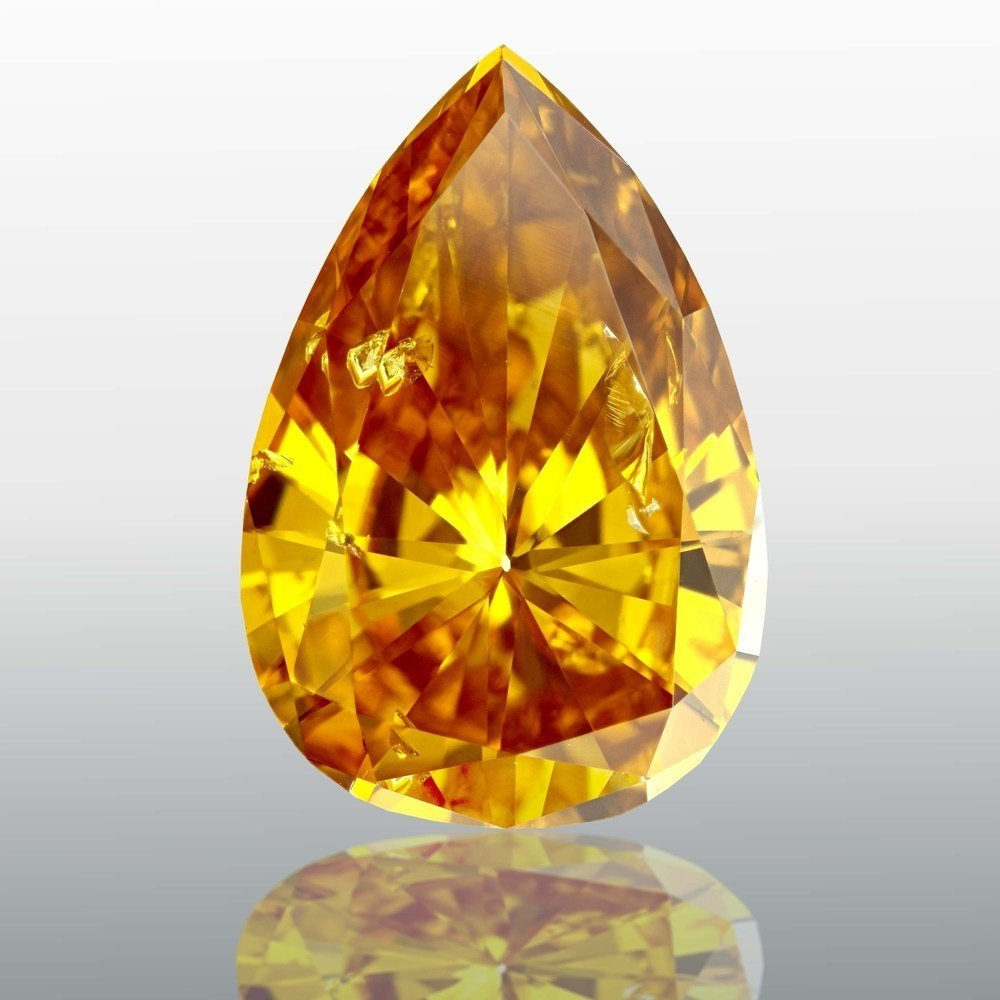 3.48 Carat Pear Loose Diamond, Fancy Deep Orange Yellow, I1, Excellent, GIA Certified