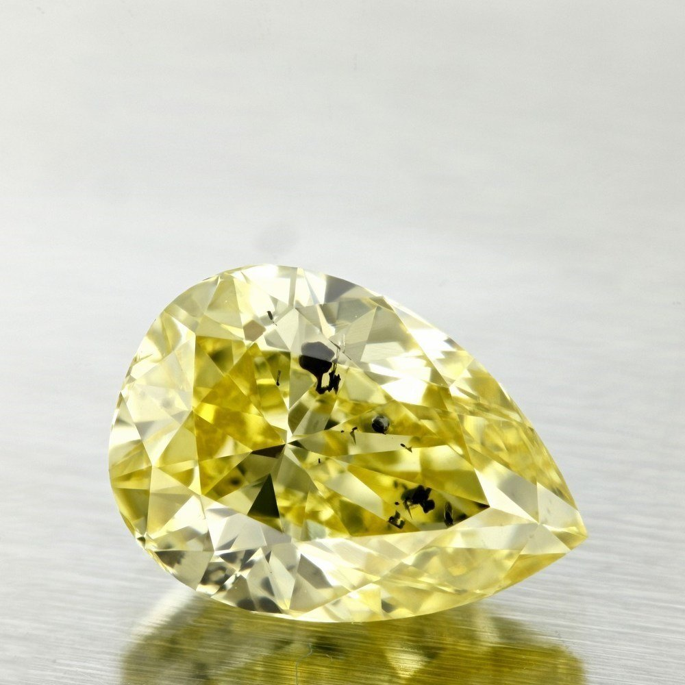 1.80 Carat Pear Loose Diamond, Fancy Intense Yellow, I1, Very Good, GIA Certified