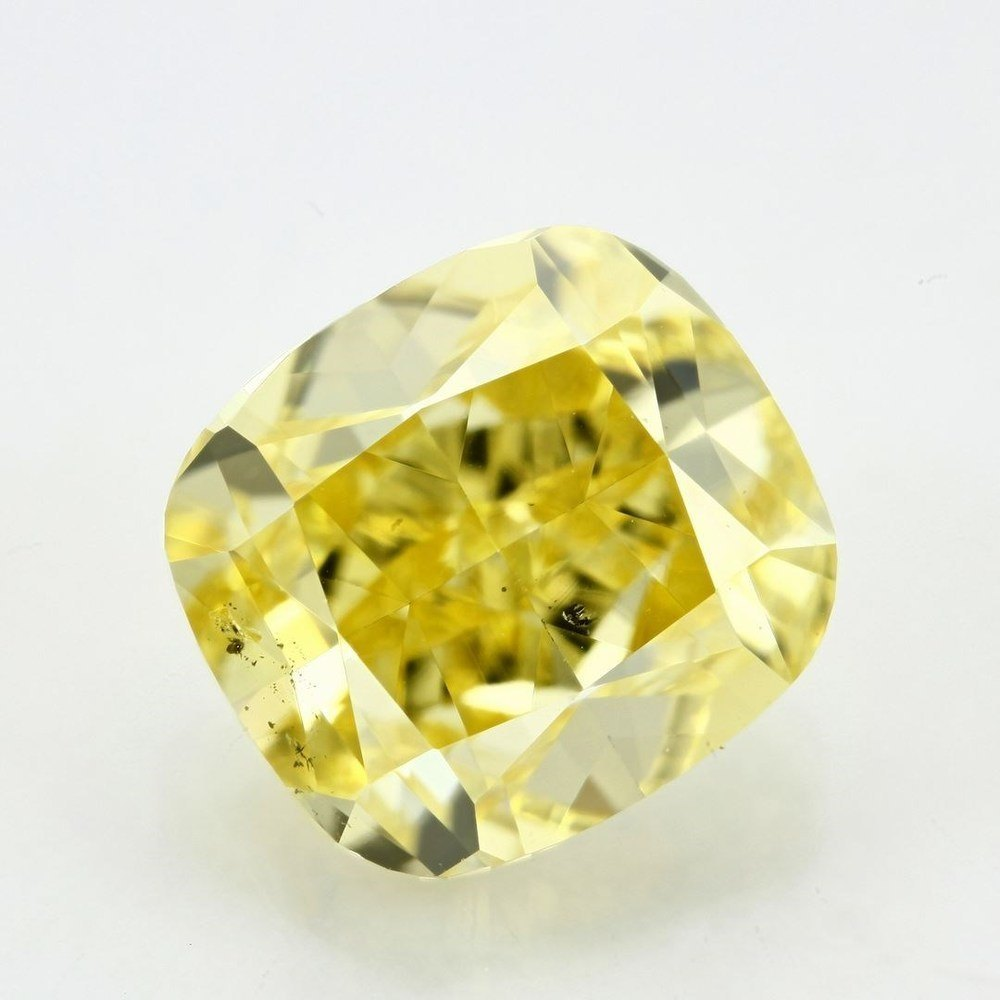 1.17 Carat Cushion Loose Diamond, Fancy Vivid Yellow, SI1, Ideal, GIA Certified