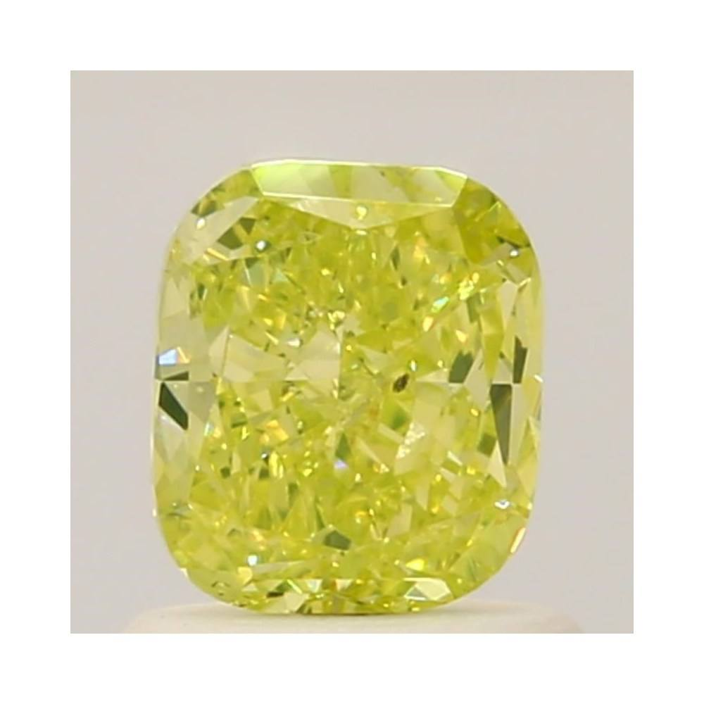 0.74 Carat Cushion Loose Diamond, Fancy Intense Green Yellow, SI1, Very Good, GIA Certified