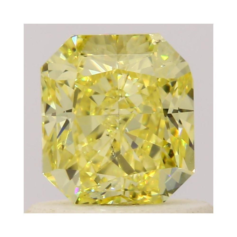 0.72 Carat Radiant Loose Diamond, Fancy Intense Yellow, SI1, Very Good, GIA Certified