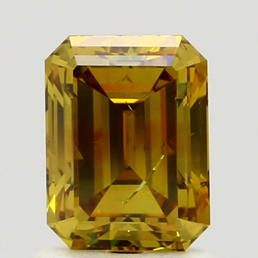 1.30 Carat Emerald Loose Diamond, Fancy Deep Brownish Yellow, I1, Excellent, GIA Certified