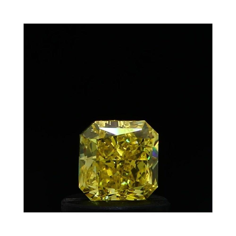 0.52 Carat Radiant Loose Diamond, Fancy Vivid Yellow, SI1, Excellent, GIA Certified