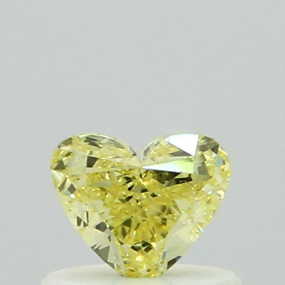 0.41 Carat Heart Loose Diamond, Fancy Yellow, VS2, Very Good, GIA Certified