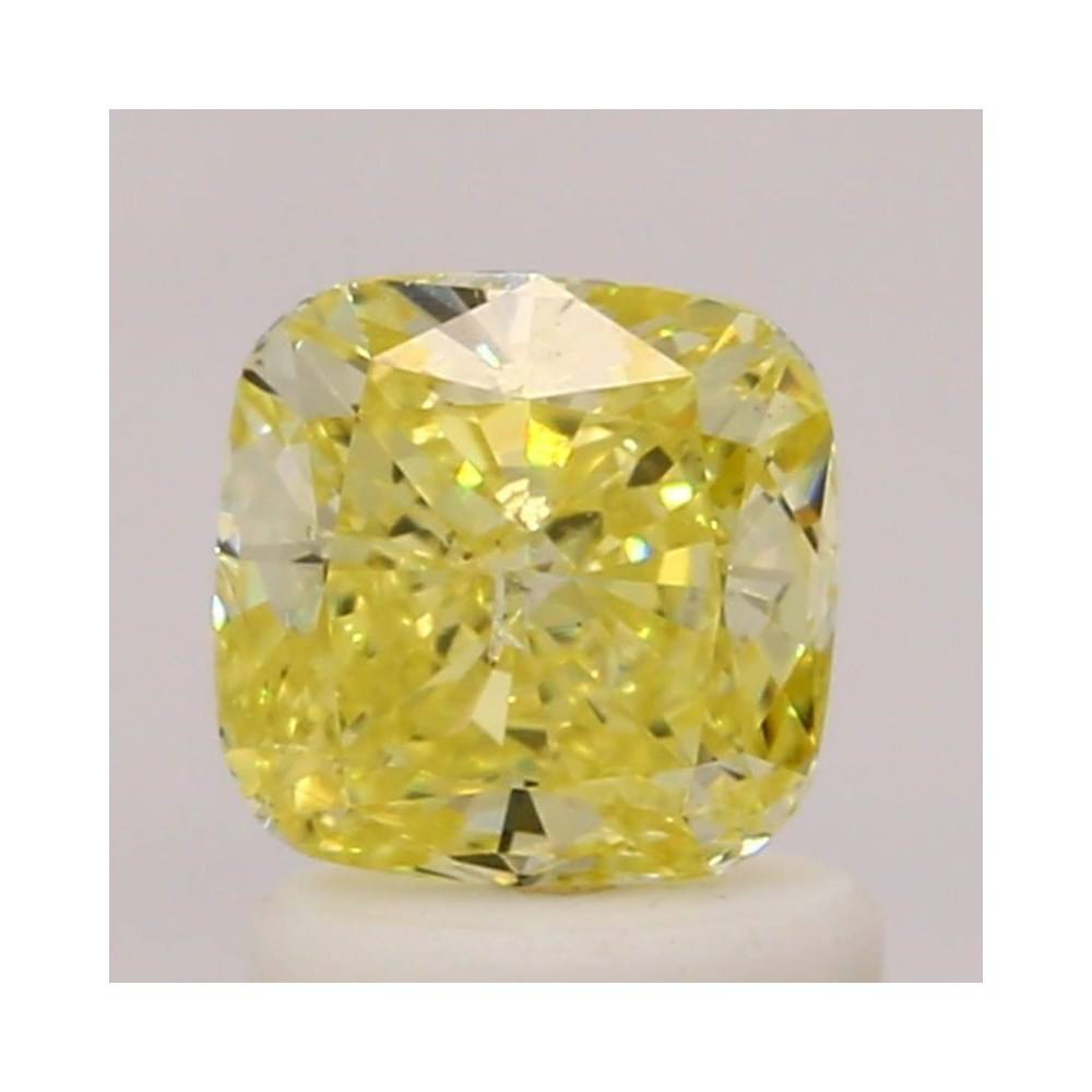 1.02 Carat Cushion Loose Diamond, Fancy Intense Yellow, SI2, Super Ideal, GIA Certified | Thumbnail