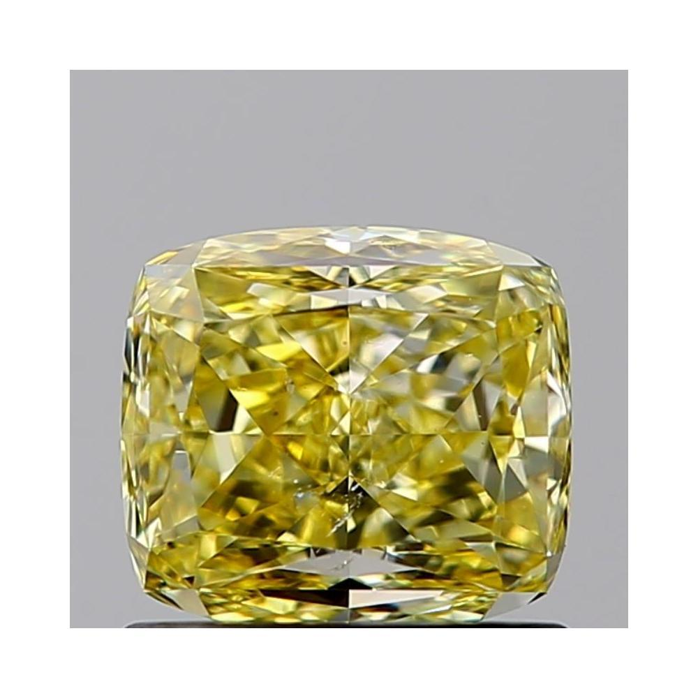 1.01 Carat Radiant Loose Diamond, fancy intense yellow natural even, SI2, Good, GIA Certified