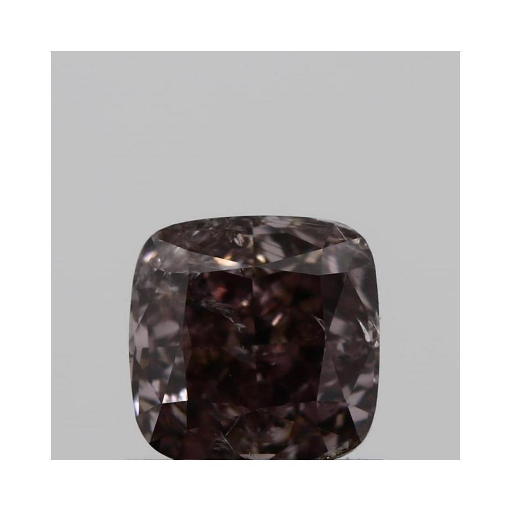 0.71 Carat Cushion Loose Diamond, fancy dark brown pink, I2, Excellent, GIA Certified