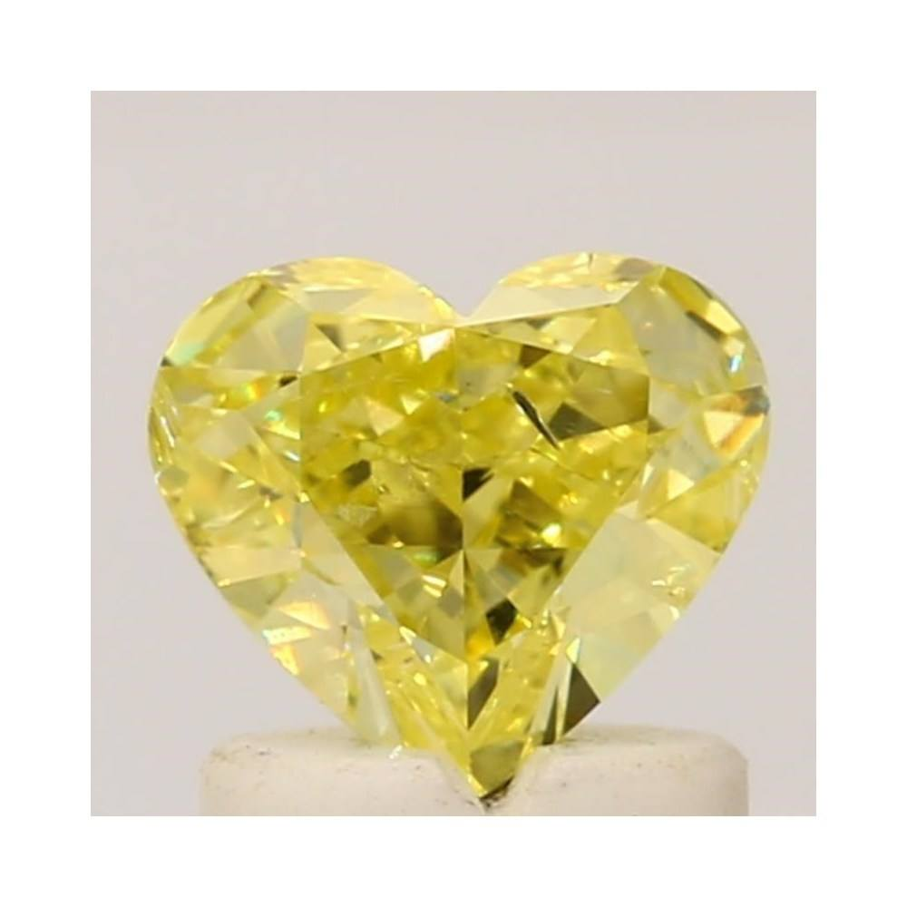 1.07 Carat Heart Loose Diamond, Fancy Intense Yellow, SI2, Excellent, GIA Certified