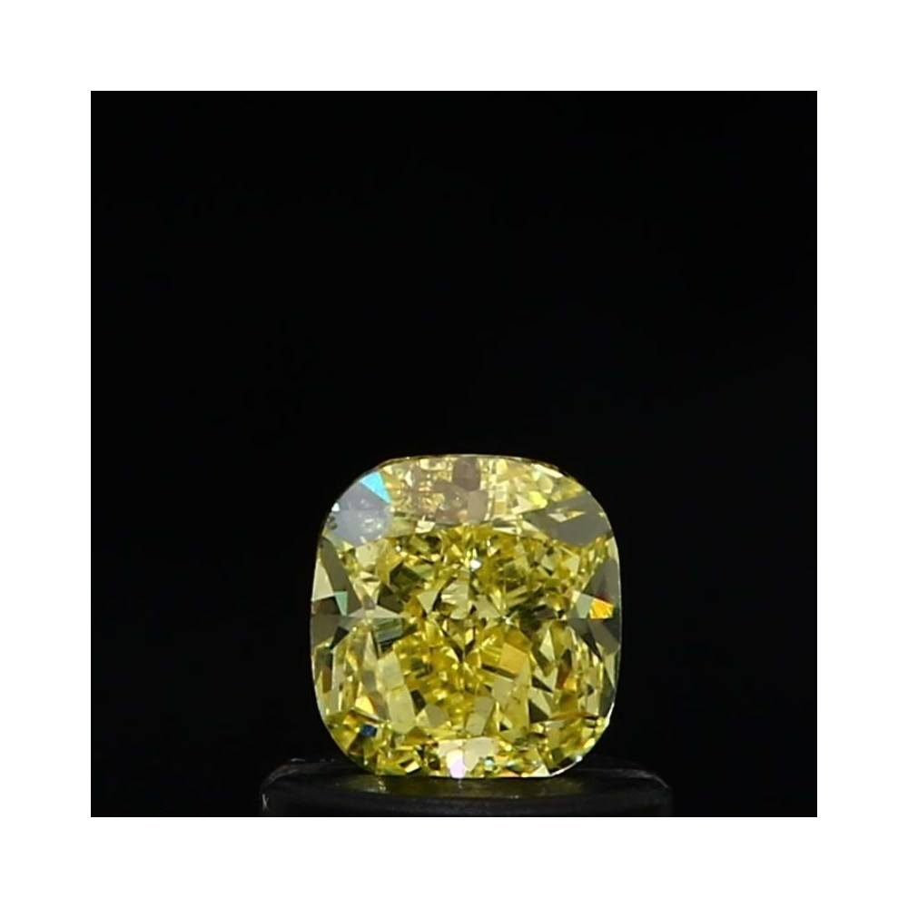 0.55 Carat Cushion Loose Diamond, Fancy Intense Yellow, SI2, Excellent, GIA Certified