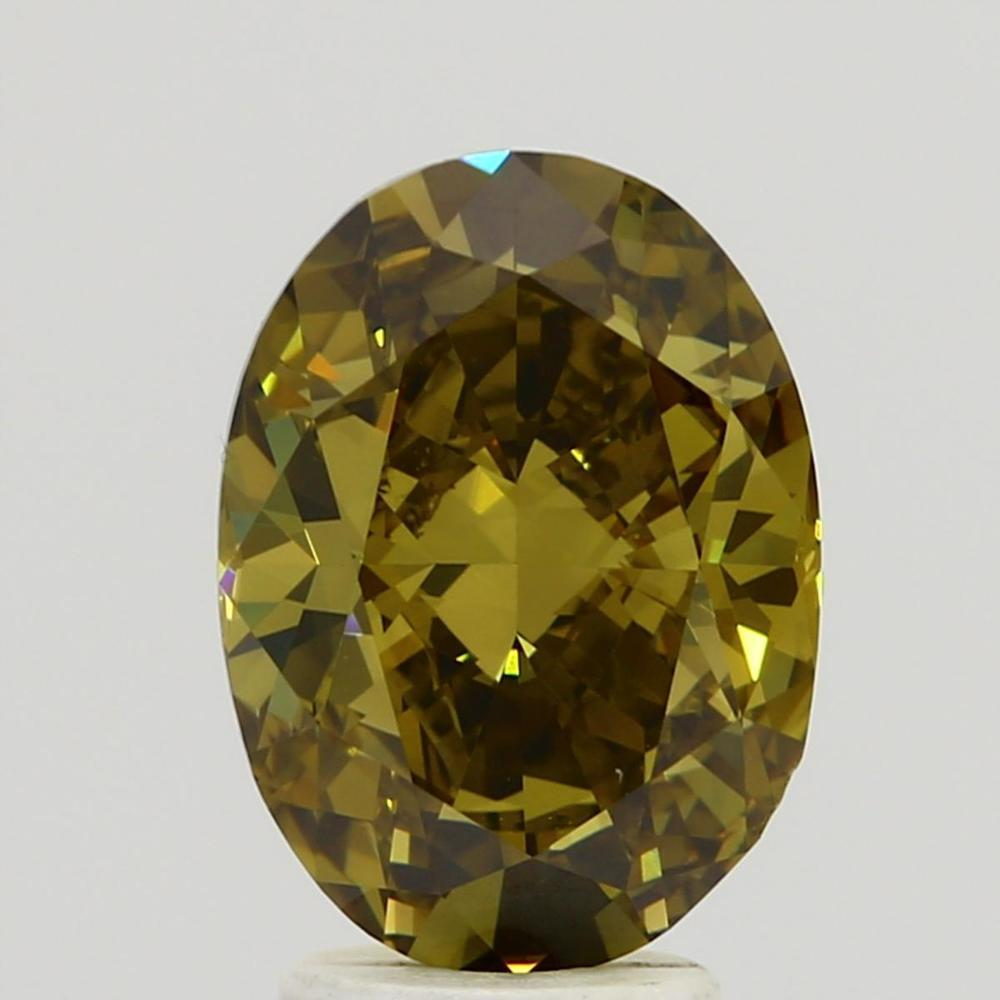 3.13 Carat Oval Loose Diamond, Fancy Dark Brown Greenish Yellow, VS2, Ideal, GIA Certified | Thumbnail
