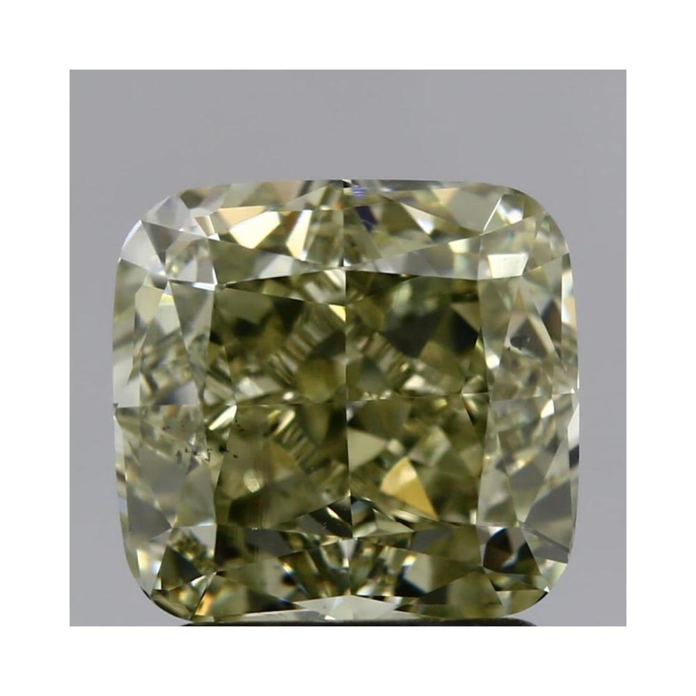 2.07 Carat Cushion Loose Diamond, fancy green yellow undetermined even, SI1, Very Good, GIA Certified
