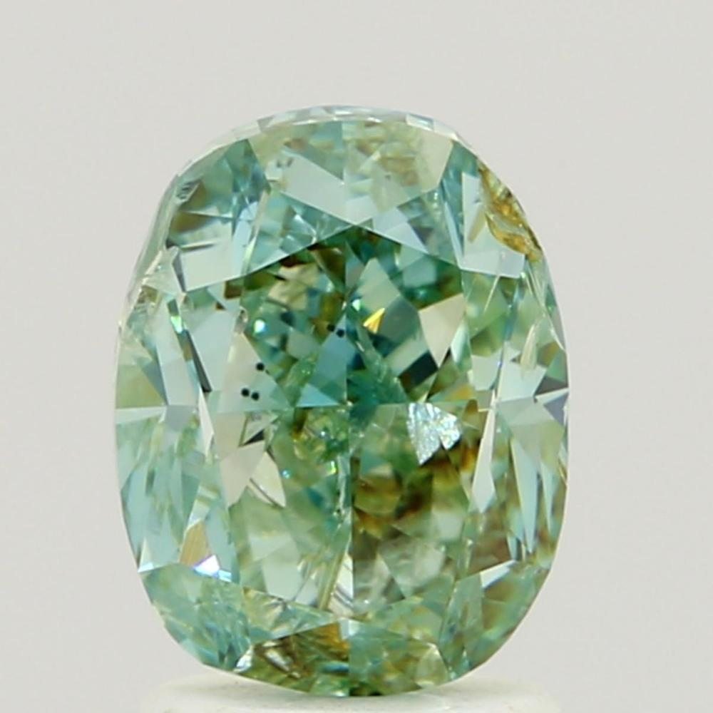 1.99 Carat Oval Loose Diamond, Fancy Intense Bluish Green, I1, Very Good, GIA Certified