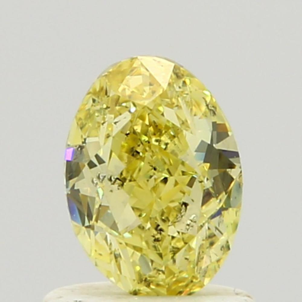 0.84 Carat Oval Loose Diamond, Fancy Intense Yellow, SI2, Excellent, GIA Certified