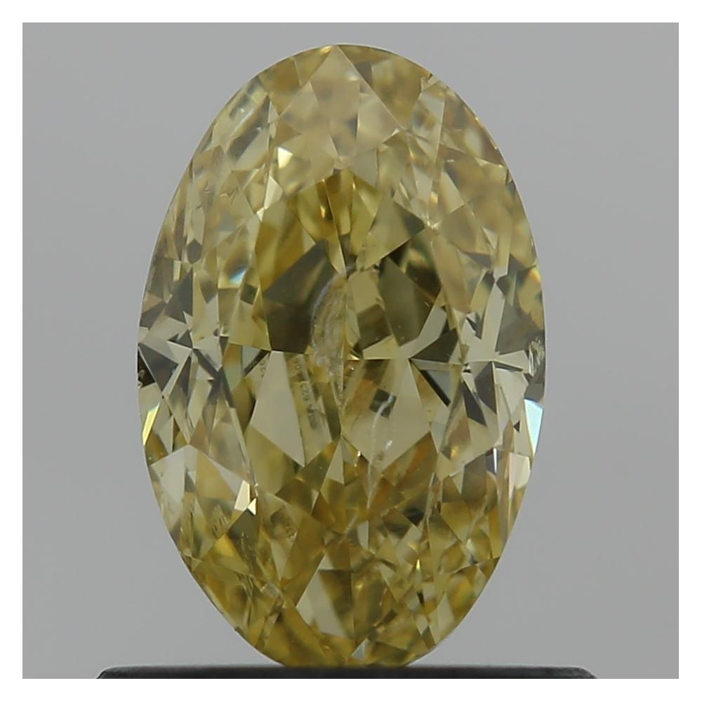 0.72 Carat Oval Loose Diamond, Fancy Intense Orangy Yellow, SI2, Ideal, GIA Certified