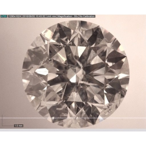 2.04 Carat Round Loose Diamond, I, SI2, Ideal, AGS Certified