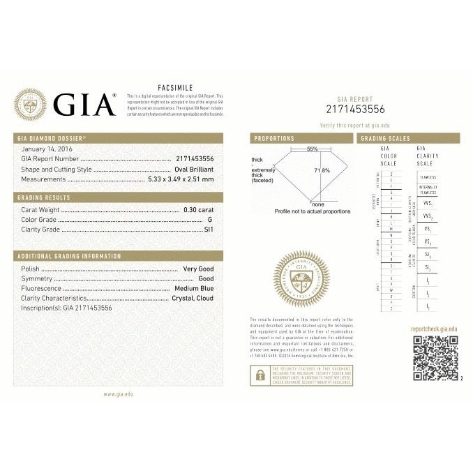 0.30 Carat Oval Loose Diamond, G, SI1, Excellent, GIA Certified | Thumbnail