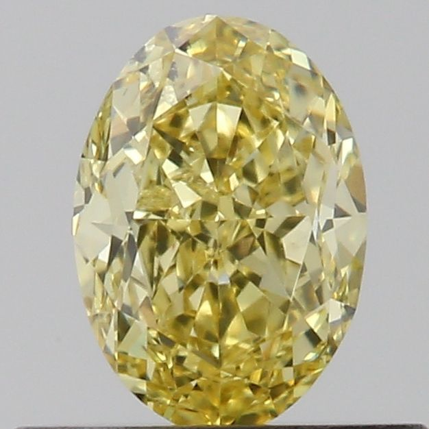 0.51 Carat Oval Loose Diamond, Fancy Intense Yellow, SI2, Very Good, GIA Certified